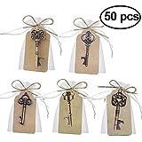 XYJIE 50pcs Favores de boda Abrebotellas con llave de esqueleto con tarjeta de etiqueta de acompañamiento y guita para favores de boda Decoración brillante (5 estilos mezclados)