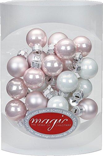 MAGIC 25 STK. Weihnachtskugel 2cm Glas Weihnachtsschmuck Weihnachtsdeko Deko Box Farbe: Noble Rose (hell rosa porzelanweiß)