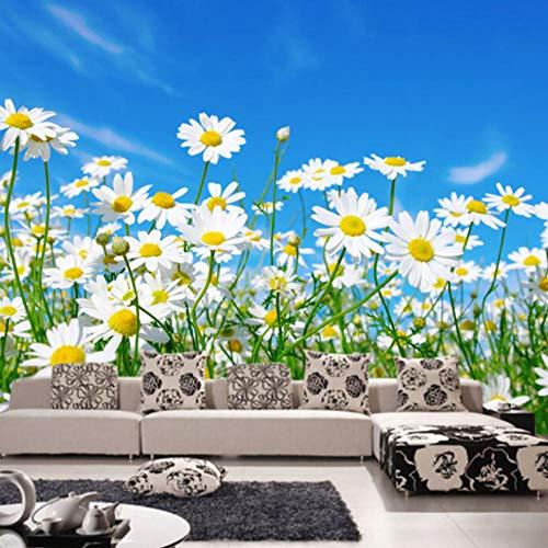 Enorme muurposter, fotobehang, 3D, vlies, zelfklevend, voor woonkamer, slaapkamer, decoratie, hemel, margrieten, planten natuur 200x150cm