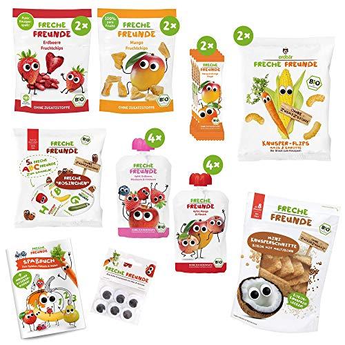 Freche Freunde Snack-Paket, Bio Kindersnacks mit Obst & Gemüse (ohne Zuckerzusatz, ohne Zusatzstoffe) für Kinder & Babys ab 1 Jahr PLUS Spaßbuch