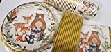 Gold Foil Woodland Creatures Party Supplies, 24 Guests Dinner Plates, Dessert Plates, 9 oz Cups, Gold Straws and Napkins for Baby Shower and Birthday Party, Forest Animal Friends Theme Party Supplies