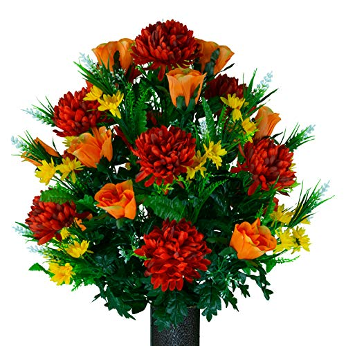 Sympathy Silks Artificial Cemetery Flowers – Realistic Vibrant Roses, Outdoor Grave Decorations - Non-Bleed Colors, and Easy Fit -Burgundy Mum & Orange Rose Bouquet