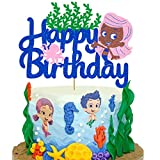 Vivicraft Cute Decor for Bubble Guppies Cake Topper Birthday, Glitter Happy Birthday Cake Topper for Bubble Guppies Theme Party Cake Decor, Girls Kids Birthday Party Decorations (6.7'' x 5.04'')