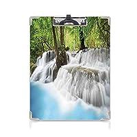クリップボード 用箋挟 クロス貼 A4 短辺とじ 滝 フォルダーボードフォルダーライティングボード (2パック)森の霧の中の神秘的なエラワンの滝熱帯のジャングルの上の霧ライトブルーグリーンホワイト