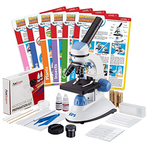IQCrew by AmScope 40X-1000X Dual Illumination Microscope (Blue) with Slide Prep Kit and Experiment Cards