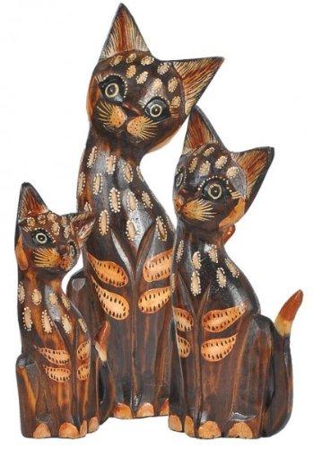 Katze Isa im 3-er Set aus Albesiaholz, handbemalt aus Bali als Deko, 15, 20, 25cm