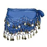 Eleery Damen Frauen Bauch Tanzen Schal 3 Schicht Chiffon Gürtel Mit 98 Münzen (Blau)