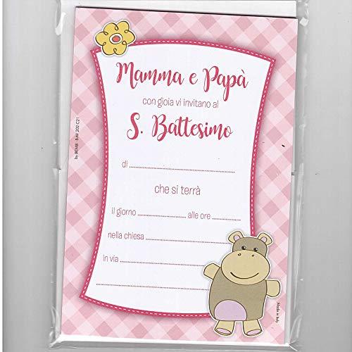 BIEMBI 20 INVITI Mamma E Papa' Battesimo Rosa