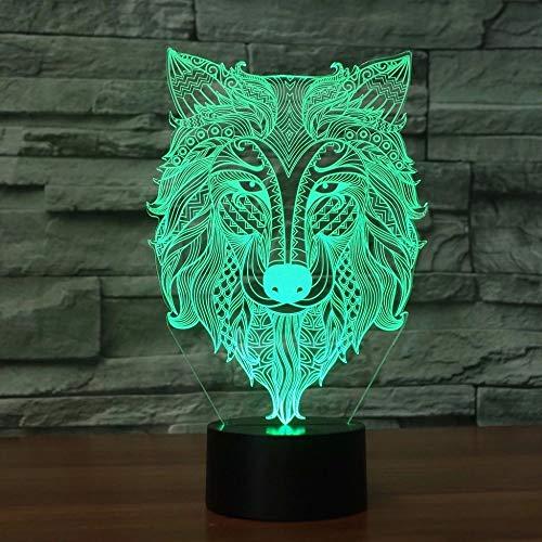 Decoración de cabeza de lobo LED 3D luz USB 3D luz de noche luz de noche creativa regalo de vacaciones decoración lámpara de mesa