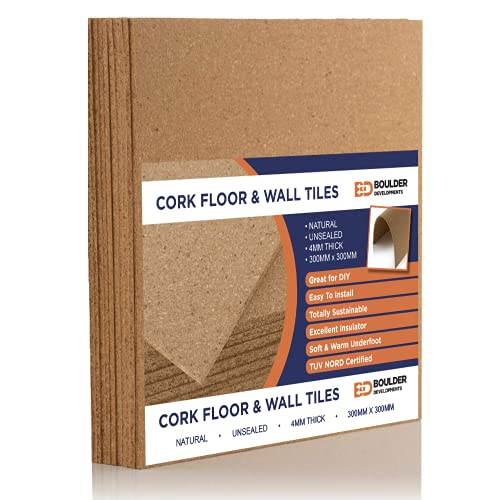 9 x Natural Cork Tiles | 300mm x 300mm | 0.81 sqm | 4mm Thick | Wall, Floor, Insulation, Sound Proofing, Craft, Notice/Pinboard, Surface Protection | DIY Project, Home, Garage and Workshop
