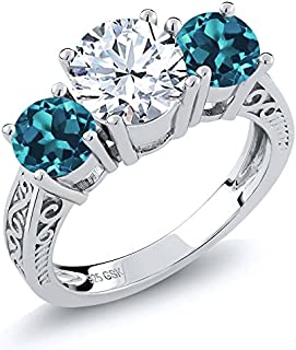 Gem Stone King 925 Sterling Silver White and London Blue Topaz Gemstone Birthstone 3-Stone Ring 2.40 Ct (Available 5,6,7,8,9)