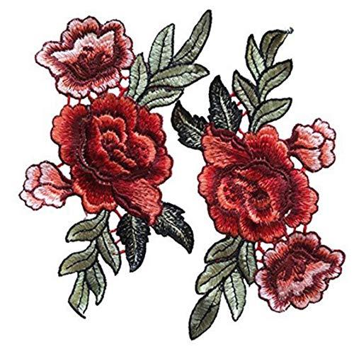 Ropa Rose Remiendo del Bordado 2pcs Fix Patch Costura De Accesorios Artesanías Adjuntos Patch Decorativo