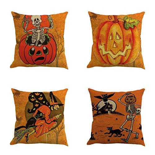 Mamum Halloween, 4PC Housse de Coussin Decoration Oreiller Carré Taie d'oreiller Décoratif pour Sofa Maison Housse de Canapé 45x45cm (61B)