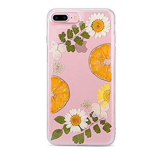 YFZYT Real Presionado Secas Flores Serie Caja Protectora, 3D Colorful Floral Blossom Cristal Gel Cover Case para 5.5' Apple iPhone 7 Plus/8 Plus-Limón