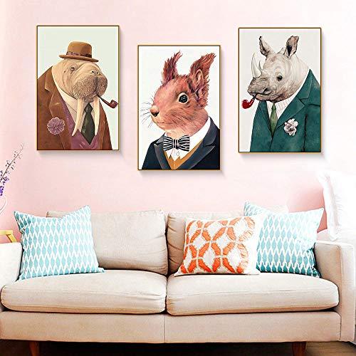 WADPJ Cartoon dieren portretkleding, werkkleding, muurkunst, kunstschilderingen, moderne prints Pictures Living Kids Room Decoratie, 40 x 50 cm, 3 stuks zonder lijst