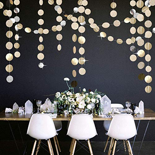 GuassLee 5Pcs Glitter Champagne Gold Paper Circle Dots Garland Banners Streamers Hanging Bunting Ornament for Engagement Party Bridal Shower Wedding Baby Shower Christmas Room Decor (65 Feet)