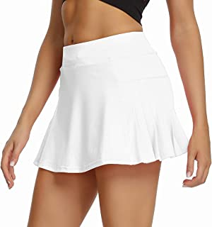 Toumett Women's Athletic Skorts Lightweight Pleated Active Skirts with Shorts Pockets Tennis Golf Sports Mini Skirt