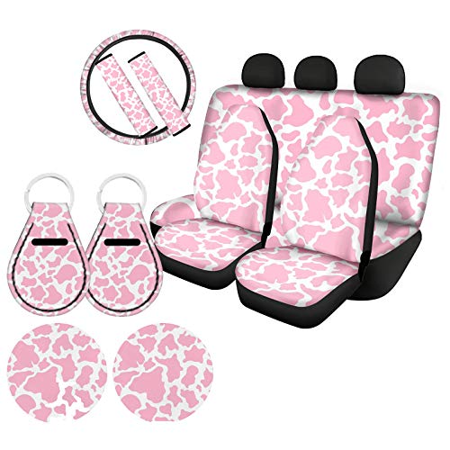 ZFRXIGN Cow Print Car Accessories Seat Cover Protector Front & Rear Seat Cover SUV Car Full Set 11-pcs Steering Wheel Cover, Seat Belt Pads, Keyring, Coasters Pink and White