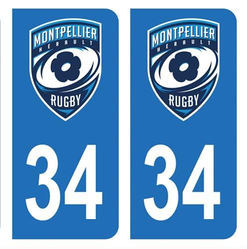 Hadexia Aufkleber für Nummernschild, Auto, 34 Montpellier Rugby