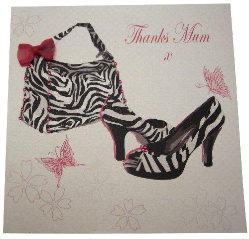 White Cotton Cards amd10 door Mum wenskaart zebra-print tas en schoenen