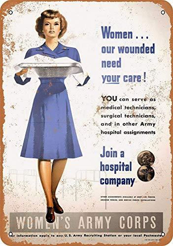 Generic Brands Plaque rétro en fer pour femme Motif corps de l'armée