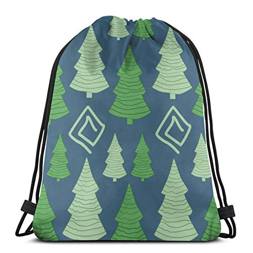 Easionerol Christmas Tree Drawstring Bags Gym Bag Travelling Portable