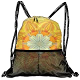 Drawstring Bundle Bags Gym Fitness Backpacks for Men Women Boys Girls Sports Hiking Cycling Camping, Sunlight sunlight abstract yellow bright,16.5