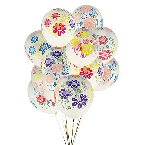 """KUMEED 12"""" Clear Flowers Latex Balloons Birthday Party Holiday Wedding Decorations"""
