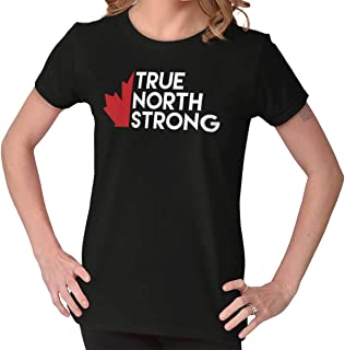 True North Strong Maple Leaf Canadian Flag Ladies T Shirt