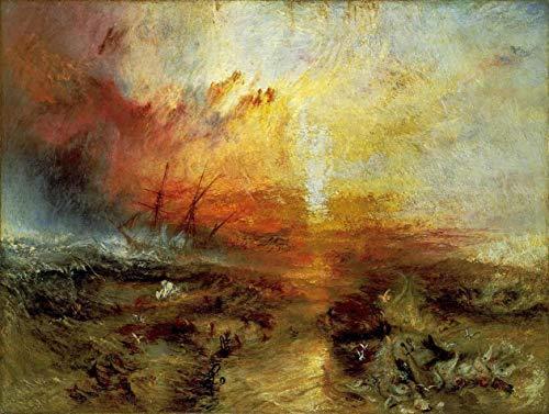 Navio Negreiro: Uma Denúncia à Escravidão de William Turner - 30x40 - Tela Canvas Para Quadro