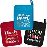 Back to School Teacher Appreciation Gift for Woman Funny Pot Holders Set of 3 - Heat Resistant Microwave Oven Mitt Potholders with Hand Pocket and Hanging Loop End of The Year Teacher Gift Idea.