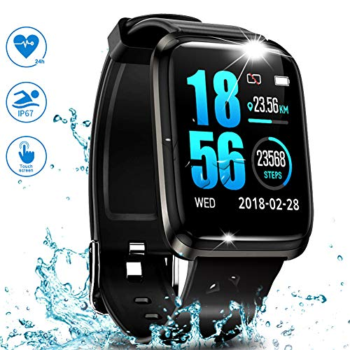 GPS Running Fitness Tracker,Smart Watch IP68 Waterproof with Color Screen,Sleep Monitor,Bluetooth Pedometer,Heart Rate,Blood Pressure Monitor Smart Sports Watches for Android iOS Men Women Kids
