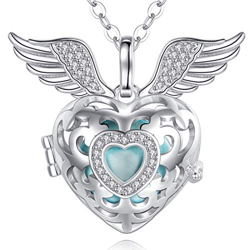 EUDORA Harmony Ball Pregnancy Necklace Bola Angel Wings CZ Locket Pendant Necklaces with Music Chime Wishing Ball for Women Mom Baby Nice Jewellery Gift, 76cm, 114cm Chain
