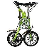 COUYY Bicicleta de Velocidad única Plegable, Bicicleta Urbana Urbana Collapsible de 14 Pulgadas, Adulto Masculino y Hembra de Disco portátil Velocidad de Freno pequeña Bicicleta Liviana,Verde