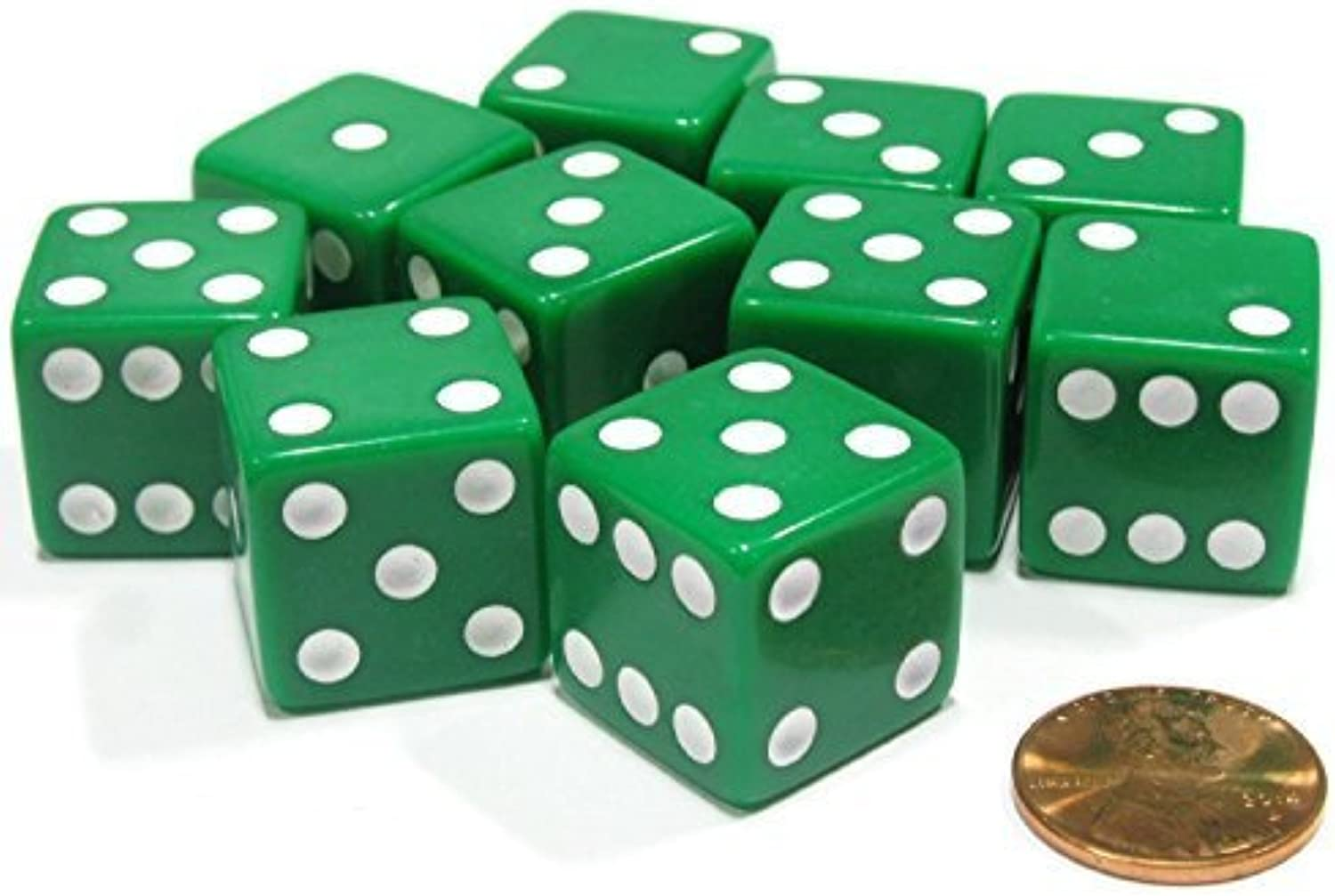 Set of 10 Large Six Sided Square Opaque 19mm D6 Dice  Green with White Pip Die by Koplow Games