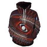 Colorato Vortex 3D Grafica Con Cappuccio Maglione Sciolto Pullover Felpa Con Cappuccio Personalità Creativo Con Cappuccio Wy584. XXXL