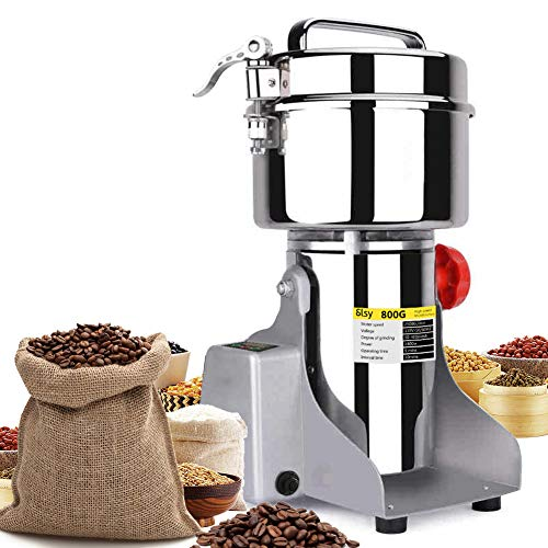 SLSY 800g Electric Grain Mills LCD Digital Grinders Mill Machine Stainless Steel Ultra Grinder Machine for Kitchen Herb Spice Pepper Coffee Corn (800g w/LCD Display)