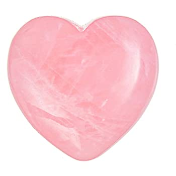 "UFEEL Rose Quartz Heart Stone Puffy Worry Stone, Plam Healing Crystal for Chakra Reiki Balancing, Meditation and Decoration Pack of 1(1.6"")"