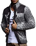 Leif Nelson LN20739 Men's Knitted Zip-up Jacket with Geometric Patterns; Size US - L/EU - XL, Khaki