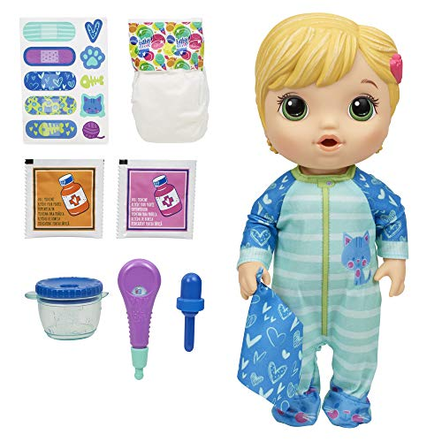 Baby Alive Mix My Medicine Baby Doll, Kitty-Cat Pyjamas, Drinks and Wets, Doctor Accessories, Blonde Hair...