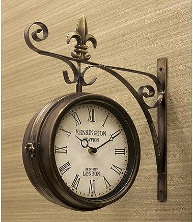 ステーションクロック ボスサイド ウォールクロック/壁掛け時計 ブロンズ/Lサイズ 両面時計 おしゃれ時計 アンティーク 北欧雑貨 両面時計