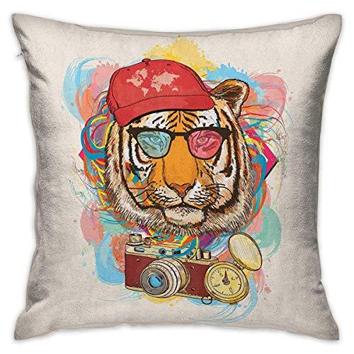 Animal Square Funny Funda de almohada Hipster Rapper Tiger con gafas de sol Sombrero y cámara Artista Hippie Animal Comic Print Fundas de cojín multicolor Fundas de almohada para sofá Dormitorio Coche