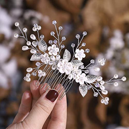 Simsly Braut Blume Hochzeit Haarkamm Slides Silber oder Roségold Braut Kopfschmuck Haarschmuck für Frauen und Mädchen (Silber)