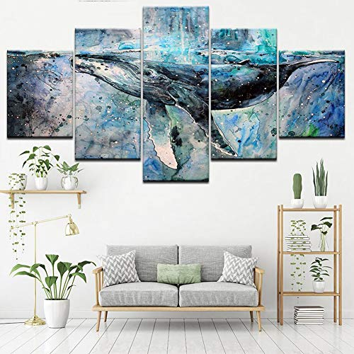 BKONF Canvas Wall Art 5 Piece Artwork Modern Home Decor for Living Room Framed Gallery-Wrapped Ready to Hang Posters and Prints,B,20×35×2+20×45x2+20x55×1