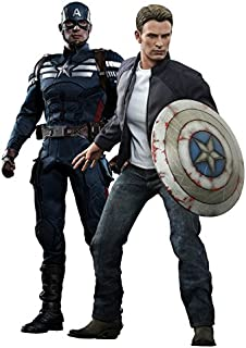 Hot Toys The Winter Soldier Movie Masterpiece Captain America & Steve Rogers Collectible Figure Set