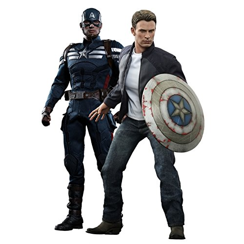 Hot Toys The Winter Soldier Movie Masterpiece Captain America & Steve Rogers Collectible Figure Set image