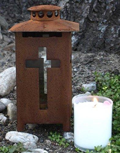 Grablaterne rost, Kreuz Licht, Kerzenheber. 16cm. 1 Stück inklusive Kerze