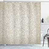 Lunarable Victorian Shower Curtain, Retro Style Curves and Swirls Geometric Elements Curlicues Vintage Baroque Pattern, Cloth Fabric Bathroom Decor Set with Hooks, 70' Long, Beige Tan
