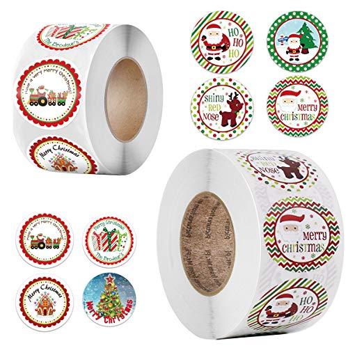 Feliz Navidad pegatinas rollo, 1000Pcs Etiqueta Adhesiva Pegatinas redondas, hechas a mano, para Sello Scrapbooking Regalo Bolsa Jabón Recuerdo Boda Fiesta Aniversario Cumpleaños 3,8 cm 2,5 cm