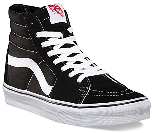 Vans Sk8-hi¿ Core Classics, Black/Black/White Canvas, 7 Women/5.5 Men